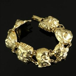 Vintage Gold Tone Precolumbian Animal Bracelet